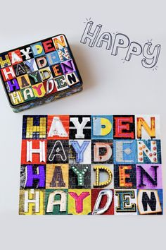 Happy HAYDEN jigsaw puzzle featuring photos of actual sign letters! Makes a great gift for kids, and is perfect for family fun game night :-)