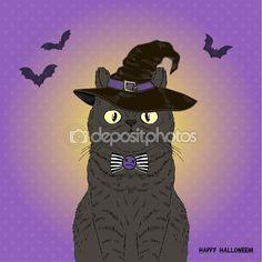 Черная кошка, Хэллоуин, Открытки дизайн — стоковая иллюстрация #83772484