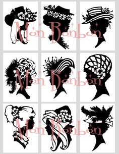 Digital Download Vintage Silhouettes Cameos of Ladies with Hats Collage Sheet ACEO ZNE Black and White via Etsy