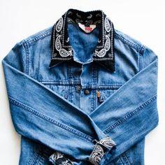 Donnez une seconde vie à votre veste en jean à l'aide d'un bandana - Marie Claire Idées