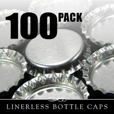 Tappi di bottiglia bella finito dentro e fuori senza fodere. Bottlecaps senza rivestimento di colore argento. Perfetto per la vostra bottiglia tappo