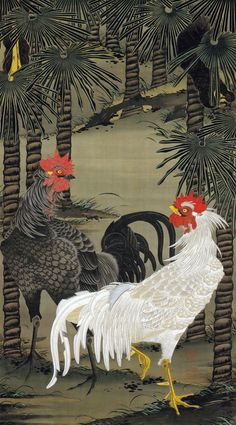 Ito Jakuchu 動植綵絵 Doshoku Sai-e Title: 棕櫚雄鶏図 Shuro Yukei-zu(Palm Trees and Roosters) c 1761-1765