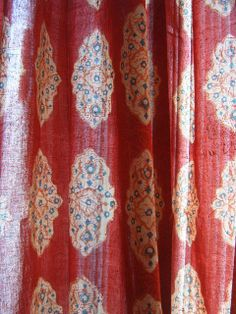 Red Orange Moroccan Cotton Voile Tab Top Window Curtain