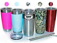 EPIC Stainless Steel Travel Tumbler Cup  Double Wall Vacuum Insulated Thermal Mug with 2 Lids and 2 Stainless Steel Straws with Brush 20 oz  Silver -- Check out this great product. (This is an Amazon affiliate link)