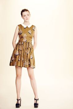 "Orla Kiely mustard dress - Emery pattern minus sleeves and 3"" length"