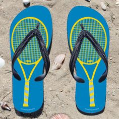 Yellow Tennis Racquet on Blue Flip Flops - Kick back after a match with these great flip flops! Fun and functional flip flops for all tennis players and fans.