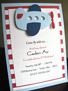 Airplane Party Invitations Airplane Birthday by ScrapYourStory First Birthday Invitations, Baby First Birthday, First Birthday Parties, Birthday Party Themes, Party Invitations, First Birthdays, Invitation Set, Airplane Baby Shower, Airplane Party