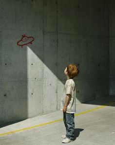 Nice way to use shadows, paintings and people!