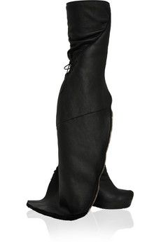 Rick Owens Shearling-trimmed leather wedge knee boots  | THE OUTNET