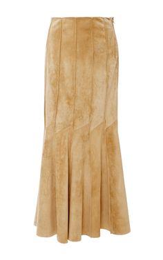 Suede Seamed Skirt with Ruffled Hem by Derek Lam for Preorder on Moda Operandi