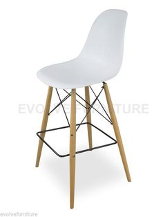 eames replica dsw bar stool white seat uamp maple wooden legs bs