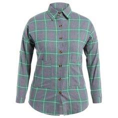 Plus Size Letter Pockets Plaid Shirt