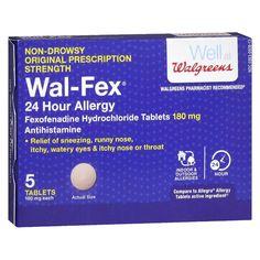 Walgreens Wal-Fex 24 Hour Allergy Relief Tablets | Walgreens Watery Eyes, Allergy Relief, Runny Nose, Active Ingredient, Allergies, Ea, Gluten Free, Sin Gluten