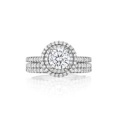 www.cmijewelry.com Single Row Petite Double Halo Engagement Ring – Style S2511 Diamond Weight - 0.56 Carats cts shown as set