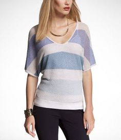 LUREX STRIPE DOUBLE V-NECK SWEATER at Express