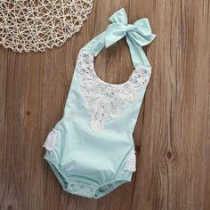 Newborn Infant Baby Girl Sleeveless Bodysuit Romper Jumpsuit Outfit Sunsuit #UnbrandGeneric #Everyday