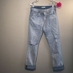 7 of all Mankind light jeans High rise. Boyfriend jeans. Distresses. Light blue. Worn ounces. Brand new conditions. Super cute with any outfit. 7 for all Mankind Jeans Boyfriend