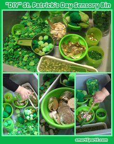 Gems, foam shamrocks, bells, beans and more for a DIY St. Patrick's Day sensory bin for tots & preschoolers!