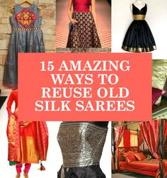 reuse old silk sarees, ideas to recycle old sarees, what to do with old silk kajeevaram sarees beautiful clothes Indian Attire, Indian Wear, Indian Style, Saris, Indian Dresses, Indian Outfits, Indian Clothes, Indian Sarees, Silk Sarees