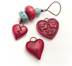 Grunge Red Love Birds Polymer Clay Heart Pendant by Distlefunk2