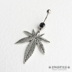 belly button ring,belly ring, silver belly ring, weed, pot leaf,... ($16) ❤…