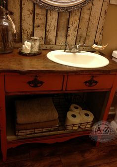 Dresser turned bathroom vanity. Love!