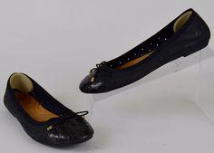 Clarks Indigo Women's Size 6 M Black Perforated Leather Snake Cap Toe Flats #Clarks #BalletFlats #Casual