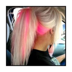 too cute i really love hair color i wish i could do this :) Pink Blonde Hair, Hot Pink Hair, Platinum Blonde, Pink Peekaboo Hair, Pink Peekaboo Highlights, Blonde Hair With Pink Highlights, Blue Purple Hair, Neon Hair, Teal