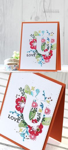 One layer, masking, flowers, watercolor, love, inlay, die cut letter