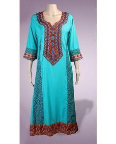 2 Piece Pakistani Designer stitched Sea Green kurta kurti suit in Malai Lawn with handmade sindhi embroidery using glass work on both gala n...