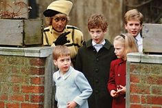 Diana with the children after church: Prince William, Lord Frederick Windsor (the son of Prince Michael of Kent) Zara and Peter