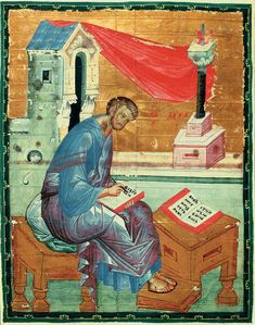 Luke the Evangelist - Andrei Rublev - - - miniature, Byzantine, 1400 Byzantine Icons, Byzantine Art, Russian Icons, Russian Art, Religious Icons, Religious Art, Luke The Evangelist, Andrei Rublev, Islamic Art