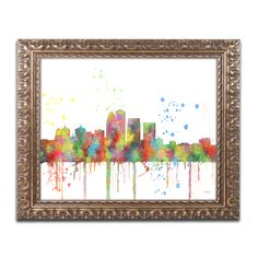Marlene Watson 'Louisville Kentucky Skyline Mclr-1' Ornate Framed Art
