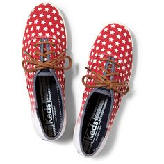 Keds CHAMPION PATRIOTIC ($55) ❤ liked on Polyvore featuring shoes, sneakers, star red, flexible shoes, keds footwear, red shoes, red trainer and keds