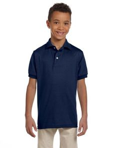 9ad853f0bb7 Jerzees 437Y Youth 50-50 Cotton and Polyester Sport Shirt, J. Navy - Extra  Large