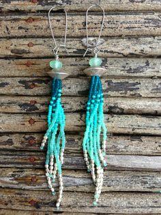 Long Fringe Seed Bead Earrings, Shoulder Duster Earrings, Tribal Earrings, Free People, Hippie Earrings, Boho Earrings, Turquoise Earrings