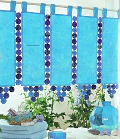 Facilitate Your Art: Fuxico 8 - Curtain - Blue Ideas Sewing Machine Projects, Quilting Projects, Quilt Block Patterns, Quilt Blocks, Handmade Crafts, Diy And Crafts, Fabric Crafts, Sewing Crafts, Yo Yo Quilt