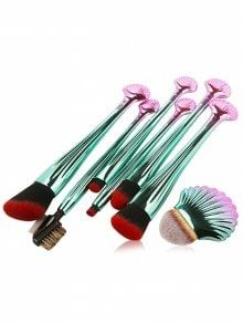 7Pcs Plating Shell Ombre Makeup Brushes Set - Red With Black