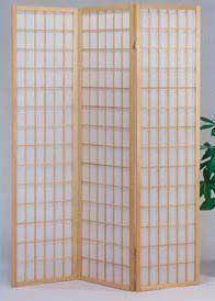 The Furniture Source 3 Panel Natural Color Wood Shoji Screen/Room Divider, Natural