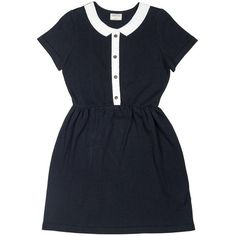 Josefine Short Sleeves Polo Dress Black by Betina Lou (3,255 MXN) ❤ liked on Polyvore featuring dresses