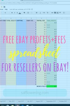 Free Ebay Sales Tracker Printable  Free Printable Ebay And Planners