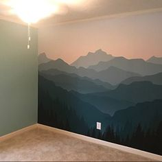 Items similar to mountain mural blue ombré mountain wallpaper forest tree and mo Large Wall Murals, Nursery Wall Murals, Bedroom Murals, Nursery Wallpaper, Kids Wall Decals, Wallpaper Murals, Wallpaper Panels, Mural Wall, Painted Wall Murals