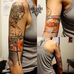 This dreamy Tank Girl sleeve work by Gareth Doye. #tattoos #capetown #kloofstreet #summer #tankgirl #colourtattoo #halfsleeve #kakluckytattoos #comic