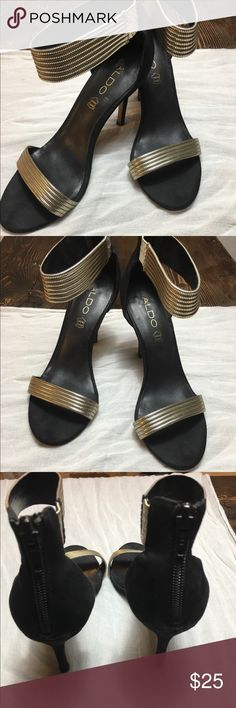 ⚫️ALDO Ankle Strap Heel⚫️ Genuine leather, metallic strap.                                                                                  Heel height 4 inches .                                                                                                     Some scuffs but v still in very good condition ☝🏻👏🏻 Aldo Shoes Heels