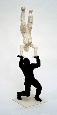 """Balance"", 11"" x 38"" x 11"", @NathanSawaya #art #LEGO #Sculpture  #PBSCuriosity  Photo Courtesy of www.brickartist.com"