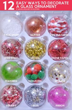 12 Easy Ways To Decorate A Glass Ornament - - DIY these baubles in minutes with cheap, crafty supplies you already have on hand! Disney Christmas Decorations, Kids Christmas Ornaments, Christmas Crafts For Kids, Simple Christmas, Glass Ornaments, Holiday Crafts, Christmas Diy, Diy Ornaments, Custom Ornaments