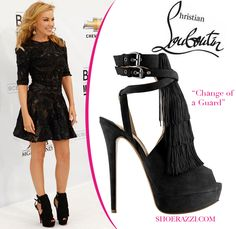 "Kylie Minogue in Christian Louboutin ""Change of the Guard"" Fringed Platform Sandals"
