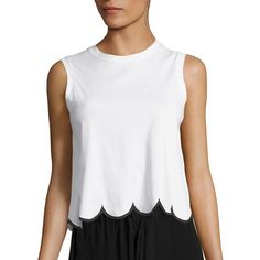 RED Valentino Scalloped Cotton Tank Top ($295) ❤ liked on Polyvore featuring tops, bianco nero, sweater pullover, sleeveless crop top, white crop tank top, white top and white tank