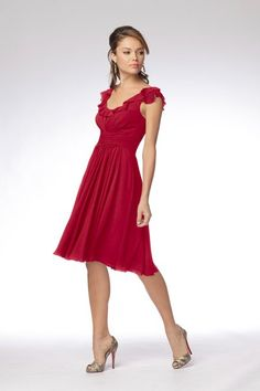 Wtoo chiffon dress in pomegranate