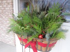 Gathered things from my yard to make this for front porch. Christmas Deco, Christmas Wreaths, Christmas Window Boxes, Winter Wonder, Yard, Seasons, Crafty, Holiday Decorating, Front Porch